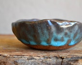 Ceramic Bowl - Planet Earth Turquoise Little bowl - Organic Shaped - Modern and Unique home decor jewelry dish