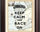 Keep calm and race on Print, Keep calm posters, on old map of Europe, old car map art print, wall hangings, home decor, fantasy