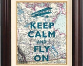 Keep calm and fly on Print,  Keep calm in turquoise art posters, on old map of Canada, Map art print, Keep calm collage home decor