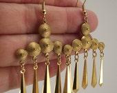Vintage Brass Chandelier Earrings, Brass Earrings, Flapper Earrings
