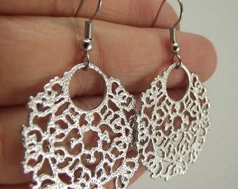 Silver Medallion Earrings, Silver Earrings