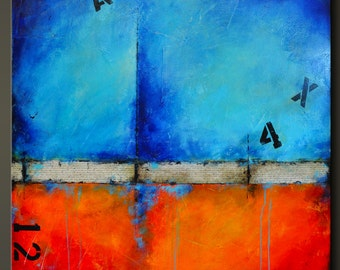 Urban Graffiti 2 - 36 x 36 - Abstract Acrylic Painting - Highly Textured - Contemporary Wall Art - Modern - Red Blue Orange