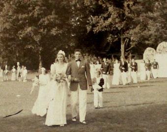 1940  Miniature Wedding Photo - Philadelphia Story - Black White - Vintage