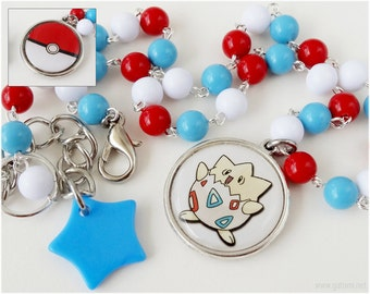 Togepi and Pokeball Necklace, Beaded Colorful Chain with Reversible Pendant in Silver - Kawaii, Gamer