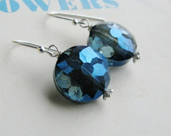 Faceted Glass Earrings Blue Rounds Sterling Silver Minimalist Modern Bridal Jewelry Sparkly Fashion