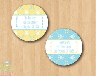 NEW Printable Return Address Labels - Pretty Yellow & Blue Design - Print at HOME