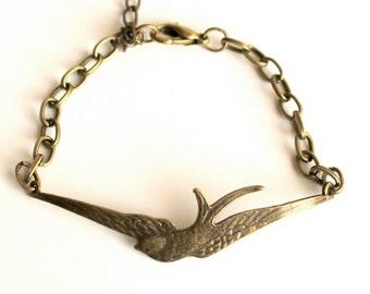 Soaring swallow bird bracelet charm antique bronze wide