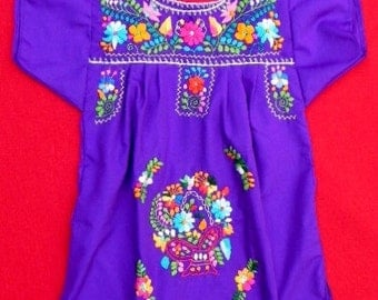 Mexican Purple Dress 2 Years Fine Embroidered Handmade Collection Spring / Summer