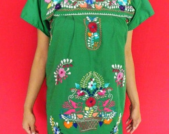 Mexican Green Mini Dress Embroidered Handmade Spring / Summer Small