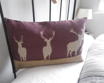 hand printed soft berry triple stag cushion cover