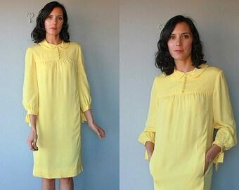 60s Dress | Suzy Perette Dress | 1960s Dress | Peter Pan Collar Dress | 60s Yellow Dress