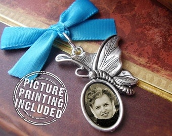 Wedding Day Memorial Photo Charm - Silver Butterfly with Oval - Includes Picture Printing Service