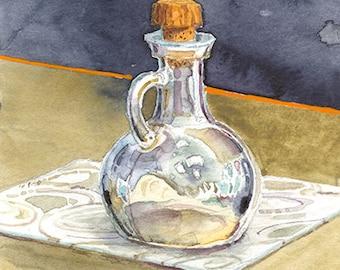Corked Glass Bottle Watercolor