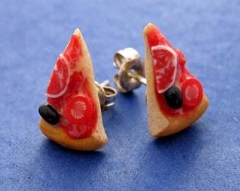 Miniature Food Jewelry Pizza Post Earrings