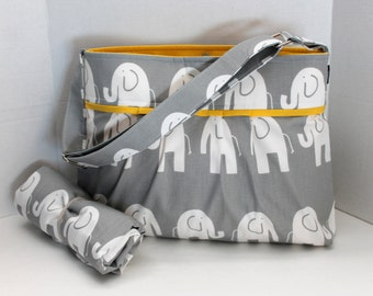 Monterey Diaper Bag Set - Medium - Grey Marching Elephants Yellow - Adjustable Strap And Elastic Pockets