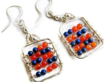 25% OFF - 925 Silver Abacus Earrings w. Lapis Lazuli & Carnelian