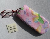 Padded Eyeglass / Sunglass Case - PINK with BUTTERFLIES Colorful Print Eyeglass Case specially for Kids or Young at Heart