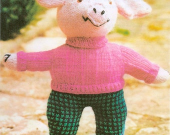 Pig Stuffed Toy Knitting Pattern PDF Instant Download