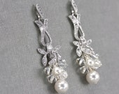 Cluster Earrings, Pearl and Crystal Bridal Earrings, Wedding Jewelry with Swarovski Crystals and Pearls, White or Ivory