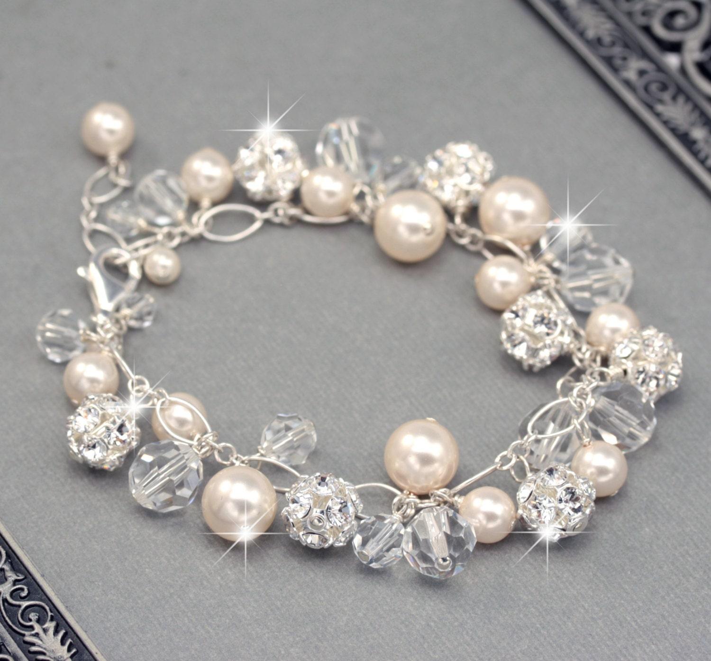 wedding bracelet bridal charm bracelet chunky pearl