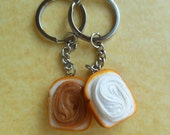 peanut butter and marshmallow fluff best friend keychains bff friendship key chains fluffanutter polymer clay