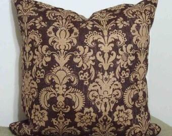 Burlap Pillow Cover in Dark Brown and Tan Floral motif - 18 inch with Zipper Closure