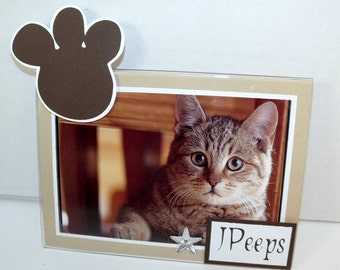 Kitty Cat Picture Frame - Holds 5x7 or 4x6 Photo - Personalized - You Choose the Colors - Horizontally or Vertically Set