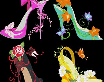 FASHIONISTA SHOES - 30 Machine Embroidery Designs Instant Download 4x4 5x7 6x10 hoop (AzEB)