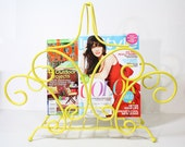 RESERVED - Vintage Metal Yellow Magazine Rack