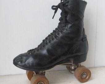 1950's Black Leather Roller Skates, Pro Skates