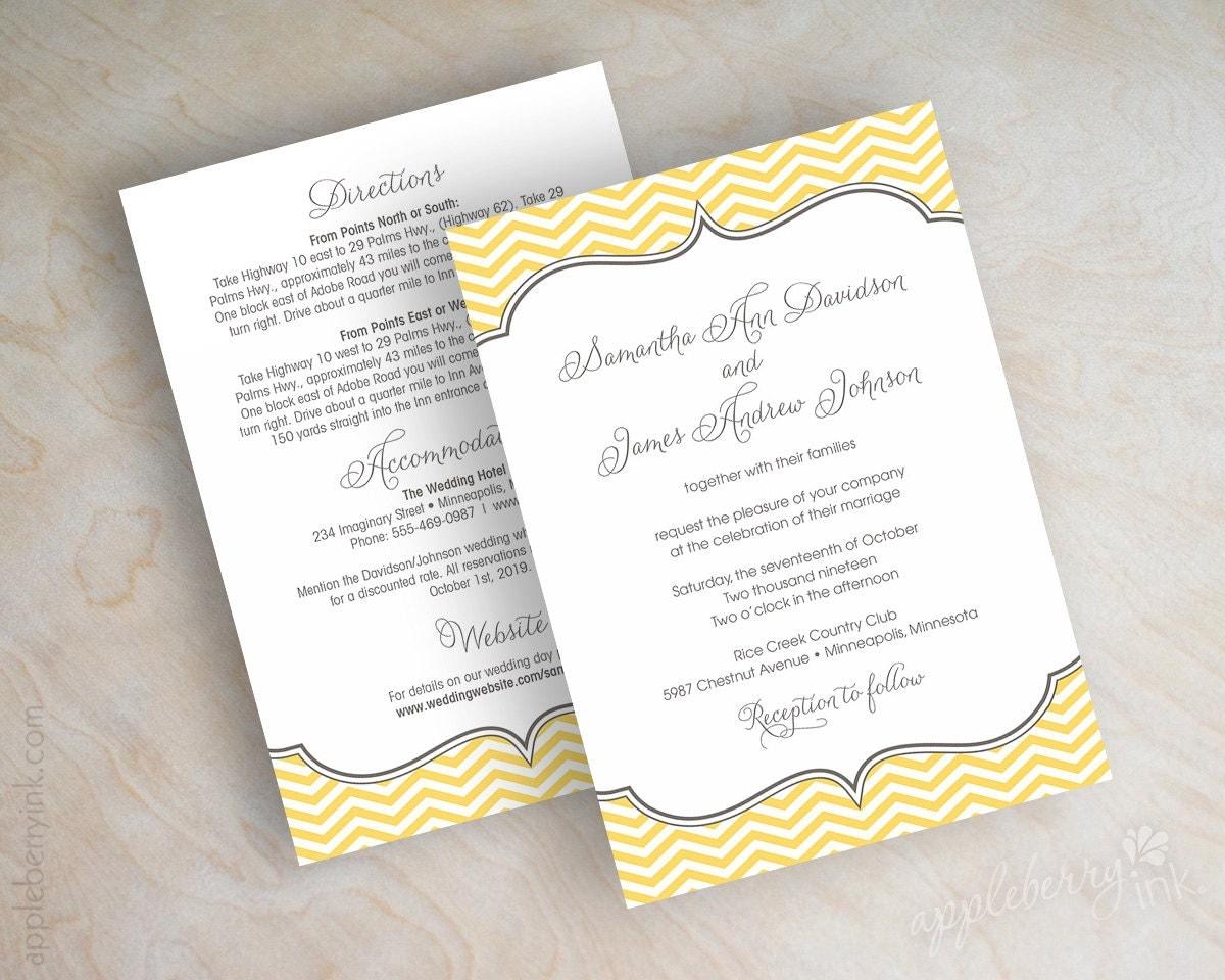 gray and yellow wedding invitations yellow wedding invitations Chevron Wedding Invitations Invites Vintage