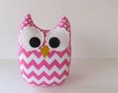 Hot Pink Chevron Owl Plush Baby Toy Mini Pillow Softie