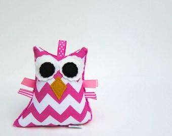 Chevron Plush Owl Rattle Softie Baby Toy Minky Zig Zag Pink