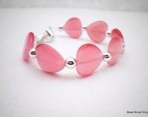Pink Cat's Eye Heart Interchangeable Watch Band - Medium