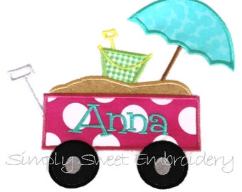 Beach Wagon Machine Embroidery Applique Design - INSTANT DOWNLOAD