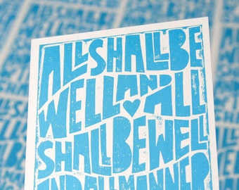 Inspirational  Quote All Shall Be Well POSTCARD Julian of Norwich
