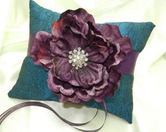 Dark Purple Peony Blue Teal Wedding Ring Bearer Pillow
