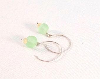 Light Green Matte Glass Earrings