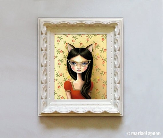 8x10 wall art print cateye glasses big eye Girl kitten cat ears girls room decor -  8x10 somerset velvet - Pop surrealism by Marisol Spoon