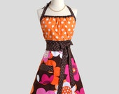 Cute Kitsch Retro Apron - Womens Chef Apron in Michael Miller Woodland Delight Orange Brown and Hot Pink Floral with Large Polka Dots