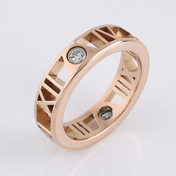 Roman Numeral Wedding Bands: Personalized Roman Numeral Ring 14K Rose Gold In
