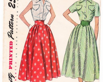 Vintage 1950 Simplicity 3200 Sewing Pattern Misses' Blouse and Skirt Size 14 Bust 32