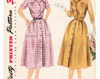 Vintage 1952 Simplicity 3944 Sewing Pattern Misses' One-Piece Dress Size 14 Bust 32