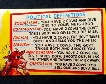 Political Definitions Socialism, Capitalism, Etc, Vintage Postcard, Humor