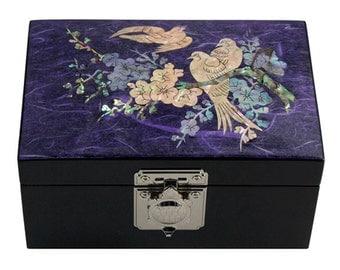 Mother of Pearl Inlay Lacquer Apricot Flower Bird Design Purple Wooden Jewelry Trinket Treasure Keepsake Chest Box Case Holder Organizer