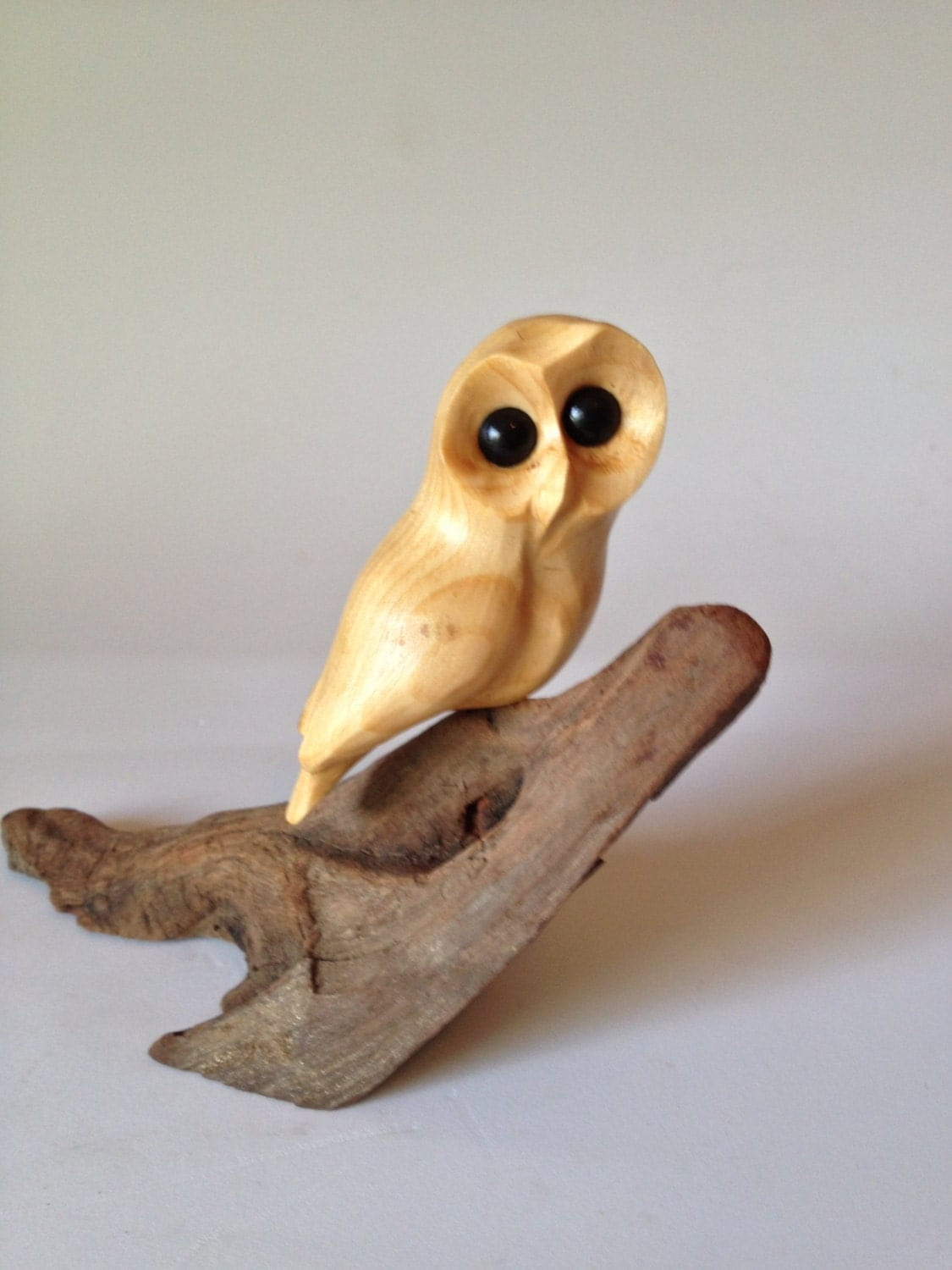 Owl art wood carving hand carved bird decor
