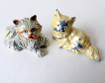 Antique Metal Kitty Cats - A Pair