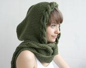 GREEN  Wool Hooded Cabled  Long Scarf  Cowl Mothers Day gift Under USD100 Bridal Green Hoodie Scarf