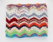 knit baby blanket, newborn photo prop, chevron baby blanket, small knitted baby blanket
