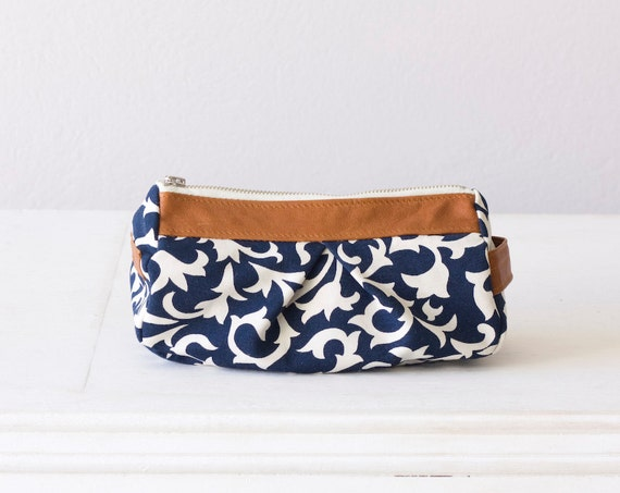 cosmetic case, makeup bag in Blue cotton floral pattern and Brown leather